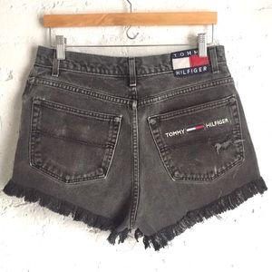 Tommy Hilfiger black distressed denim shorts